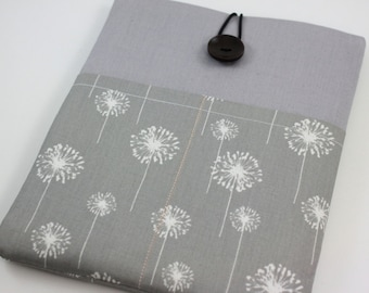 iPad Case, iPad Sleeve, iPad Cover, PADDED, with pockets for iPhone - Grey and White Dandelion
