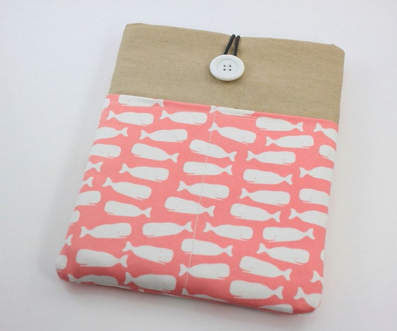 LAST ONE - iPad Case, iPad Sleeve, iPad Cover, PADDED, with pockets for iPhone - Ocean World (Light Pink)