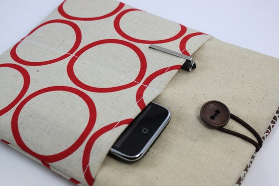 iPad Case, iPad Sleeve, iPad Cover, PADDED, with pockets for iPhone - Red Circles