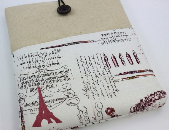 iPad Case, iPad Sleeve, iPad Cover, PADDED, with pockets for iPhone - Paris Script (Red)