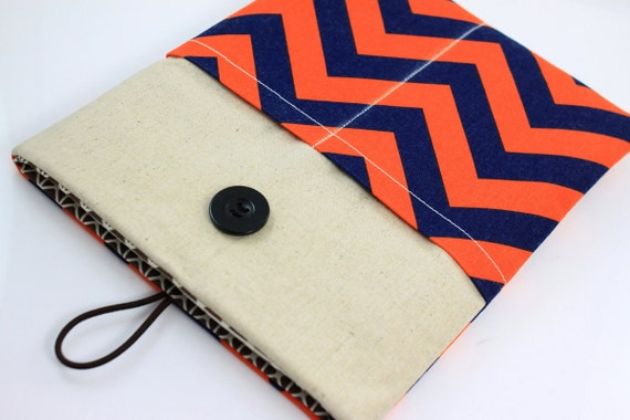 iPad Air Case, iPad Air Sleeve, iPad Air Cover, PADDED, with pockets for iPhone - Orange & Navy Chevron Zig Zag Stripes