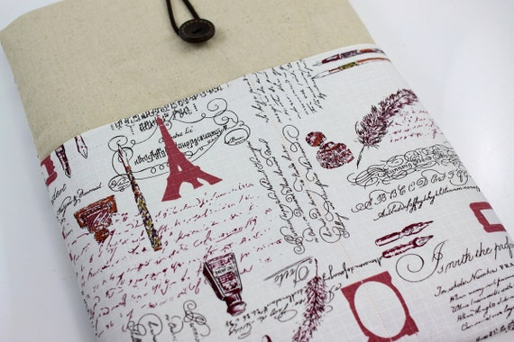 """Laptop Case, 13"""" MacBook Case, 13"""" MacBook Air Case, 13"""" MacBook Pro Case, PADDED, with 2 pockets - Paris Script (Red)"""