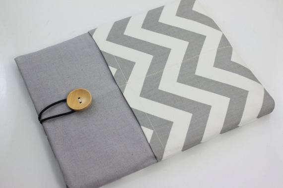 iPad Case, iPad Sleeve, iPad Cover, PADDED, with pockets for iPhone - Grey & White Chevron Zig Zag Stripes