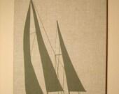Marushka Screen Printed Fabric Wall Art Sailing Mid-Century Modern