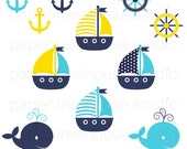 Clip Art Set - Sailboats, Anchors and Whales - Yellow, Teal and Navy - 11 Print Ready Files - JPG and PNG Format - ID 100