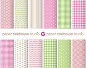 Digital Papers - Pink & Green - Gingham, Polka Dots, Heart, Zig Zag - Twelve 8.5 x 11 and 12x12 inch Files - PNG Format - ID 1025