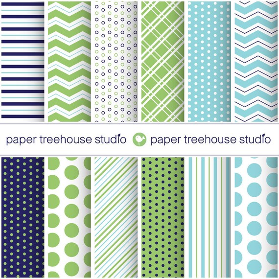 Sale - Digital Papers - Navy, Green and Blue - Dots, Stripes and Chevron- Twelve 8.5 x 11 inch Print Ready Files - 8.5x11 inch - ID 1001