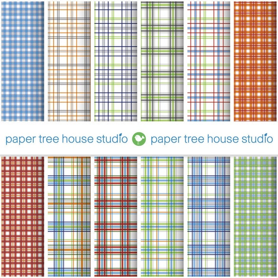 Digital Papers - Plaid Prints - Blue, Green, Orange and Red - Twelve 8.5 x 11 Files - PNG Format - ID1042