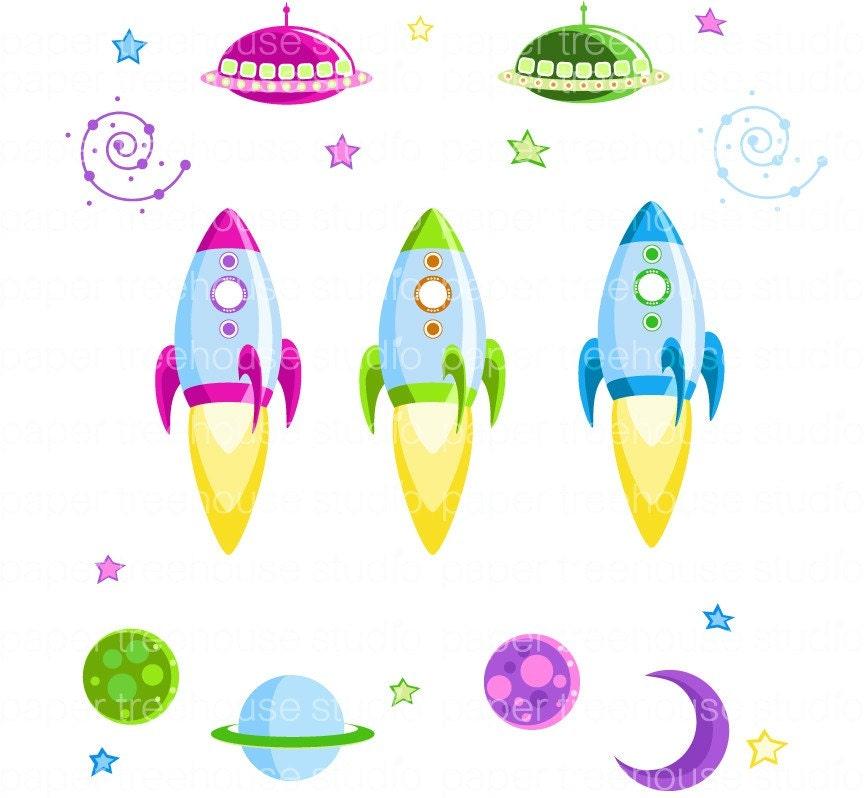 Clip Art Set Rocket Ships Outer Space Moon Stars Planets