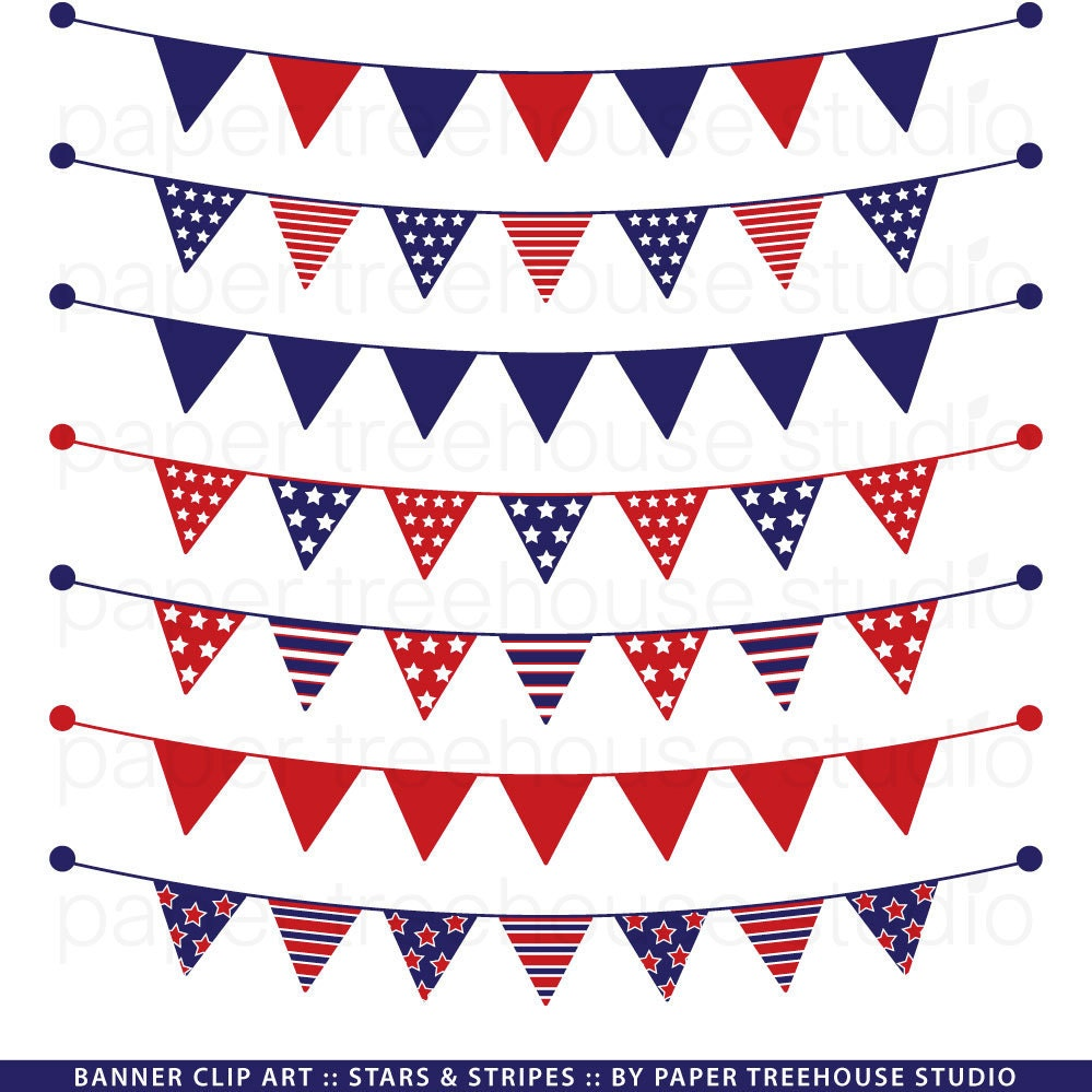 Red White and Blue Banner. Banner Clip Art. Stars and Stripes