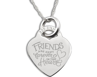 Friends Forever in the Heart Sterling Silver Heart Necklace Personalised/Engraved