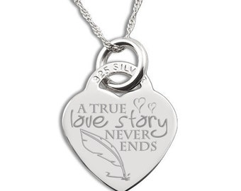 A True Love Story Never Ends 925 Silver Heart Necklace Personalised/Engraved