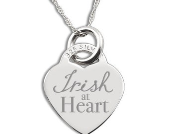 Irish at Heart 925 Silver Heart Necklace Personalised/Engraved