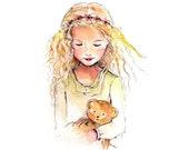 fine art print, me and my teddy bear