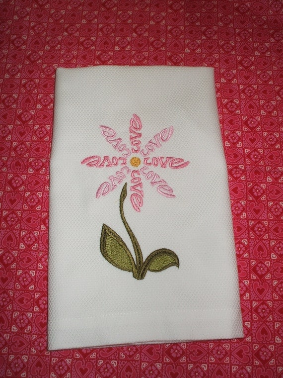 Embroidered Towel: Love