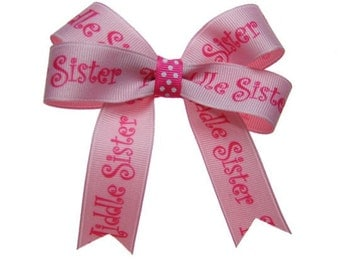 Medium Middle Sister Pink Hair Bow