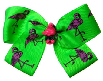 Large Pink Flamingo Hot Pink and Lime Preppy Hair Bow
