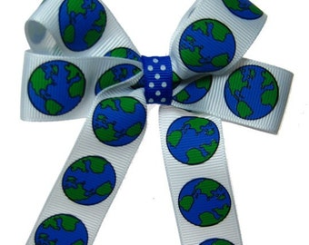 April 22 Earth Day Geography Bee Hair Bow