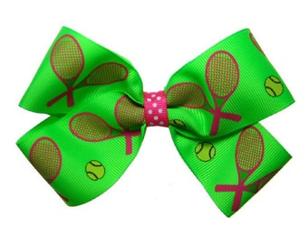 Large Pink and Green Tennis Racquet Hair Bow