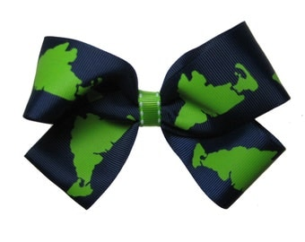 Large Lime and Navy Martha's Vineyard Hair Bow