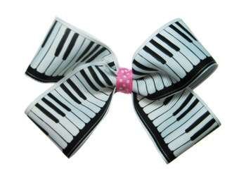 Large Piano Keys Musician Pianist Music Hair Bow