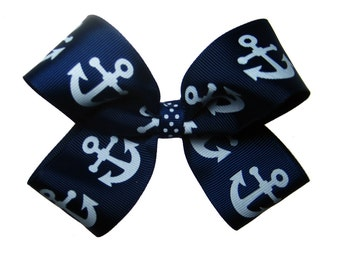 Large Navy Sailing Boat Anchor Vacation Hair Bow