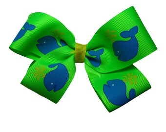 Large Whale Lime and Turquoise Vineyard Vines-y Hair Bow