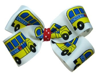 Large Back to School Yellow School Bus Hair Bow