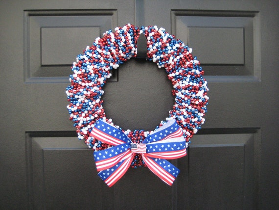 Patriotic USA 4th of July Beaded Door Wreath