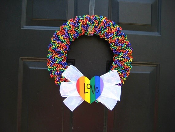Rainbow Gay Pride Love Beaded Wreath