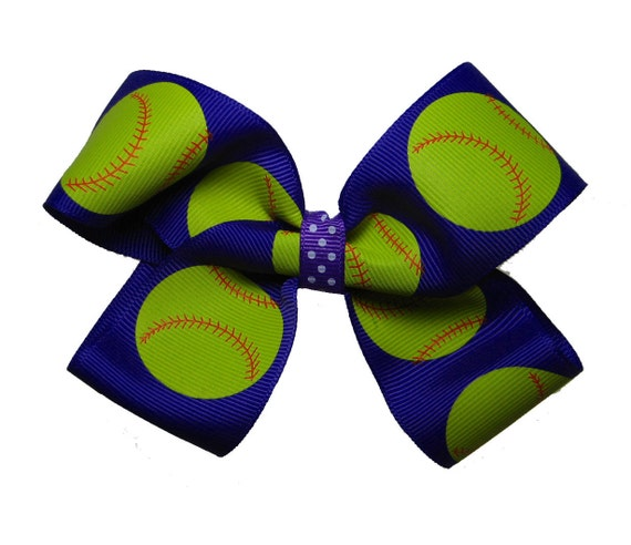Large Purple Fast Pitch Softball Hair Bow