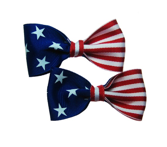 4th of July USA Flag Patriotic Pigtail Hair Bow Pair in Red White and Blue Stars and Stripes