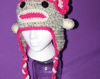 Crochet sock monkey hat - Adult