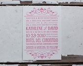 100 Letterpress Wedding Invitations and Reply Cards - Broadway