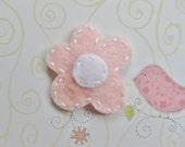 Felt Hair Clip / Baby Pink & White Flower / Small Barrette / Handmade by myturtledoves