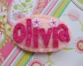 Personalized Felt Hair Clip / Name / Monogram / Handmade by myturtledoves