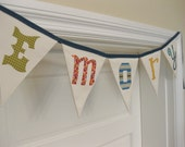 Custom Personalized Fabric Bunting Flags Banner by myturtledoves / NAME / 5 Letters