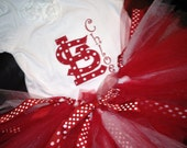 St. Louis Cardinals Red and White Polka Dot Applique Shirt and matching Tutu Set