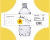 100 Sunflower water bottle labels - Price includes personalization, printing and Free shipping