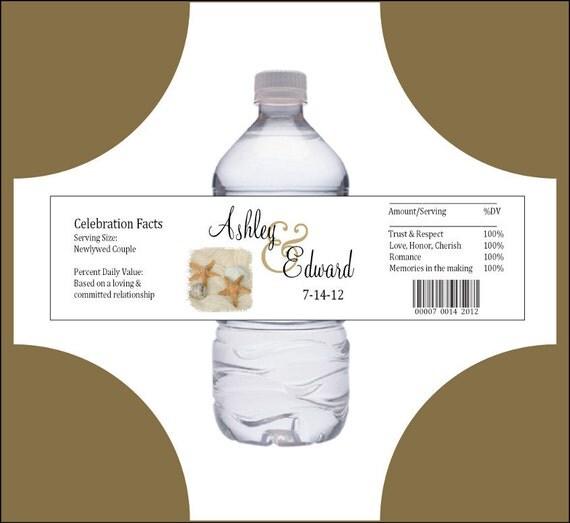 100 Beach water bottle labels - Wedding favors