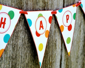 Dot Birthday Banner, Gymboree Birthday Banner - INSTANT DOWNLOAD