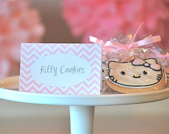 Printable Pink Chevron Place Cards and Labels - INSTANT DOWNLOAD