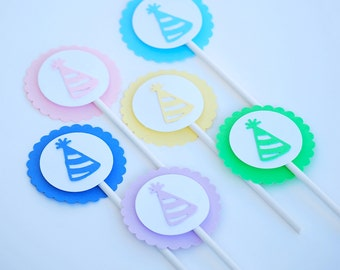 Birthday Hat Cupcake Toppers | Party Hat Cupcake Toppers | Rainbow Party Cupcake Toppers