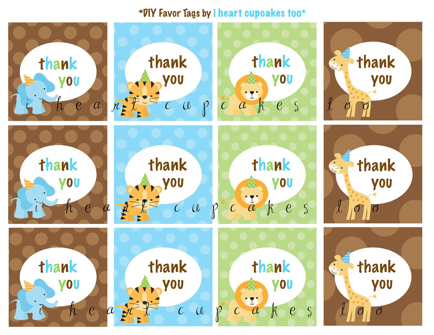 Birthday Tags: Jungle Safari Birthday Party Favor Tags-Instant By PartyFix