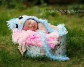 Baby Bluebird Hat with Braids , photo prop , baby blue, bird, newborn