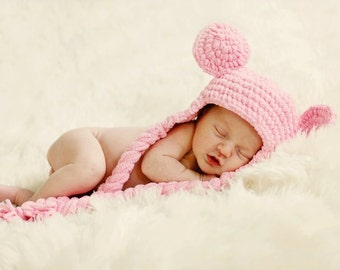 Pink Teddy Bear hat with iarge ears