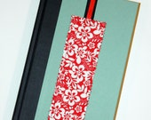 Hawaiian Bookmark - Red Floral Hibiscus with Black and Red Ribbon Tags