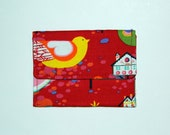 CARD WALLET - Willow Wren on Red