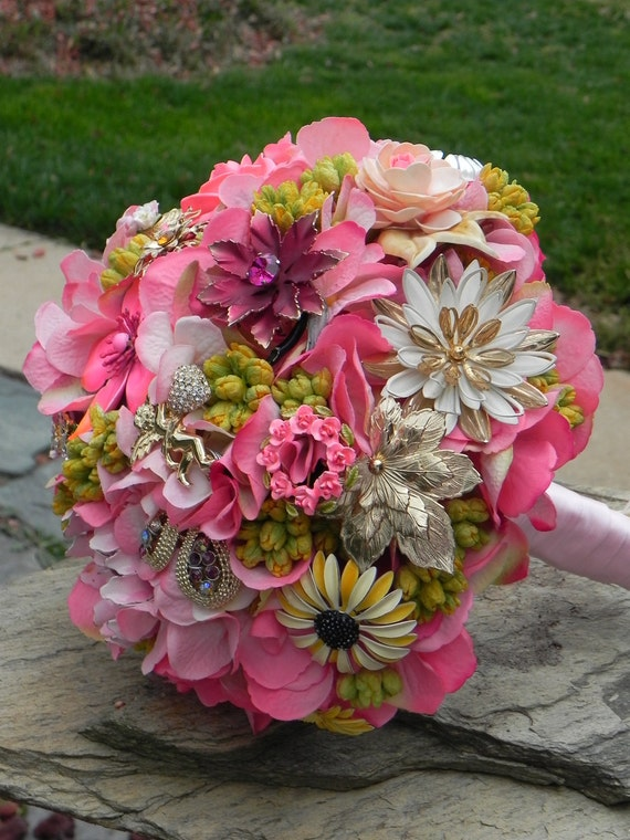 RESERVED for Tammy - Brooch Wedding Bouquet of Vintage Blooms