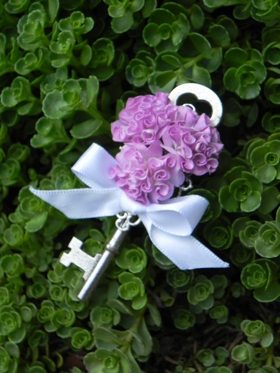 Skeleton Key Boutonnieres - Purple Handmade Flower Pom Pom Swirls